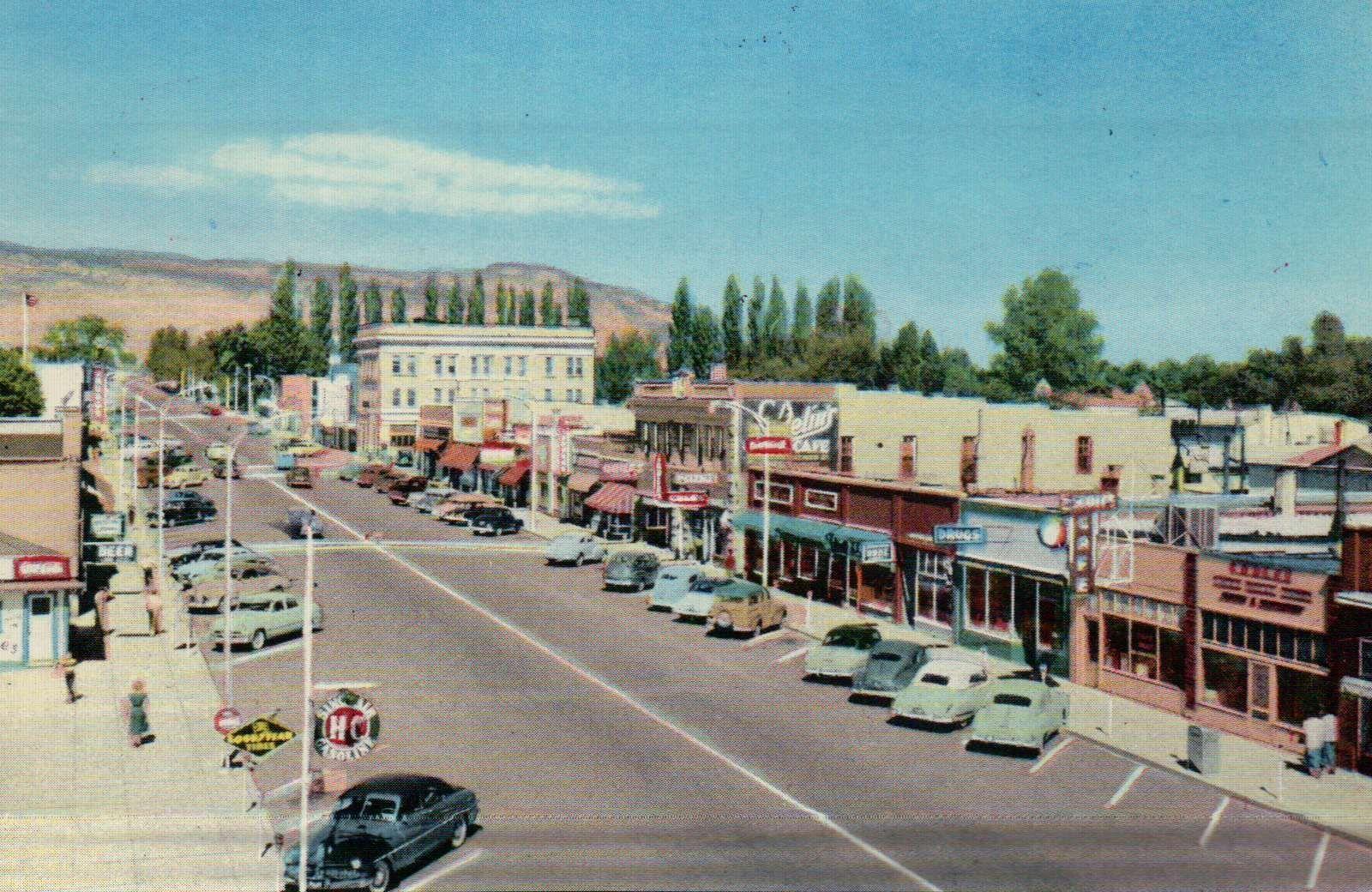 Main Street Richfield Utah Old Cars Business Section Ads Cafe Etc Postcard Utah Richfield Richfield Utah