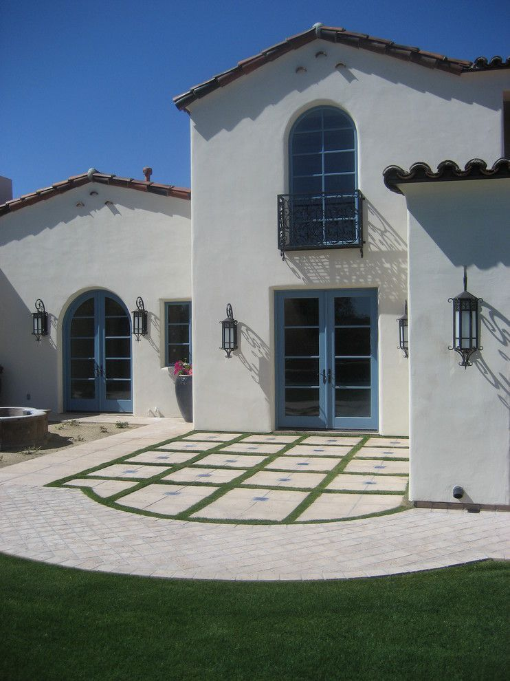 Behr swiss coffee for a mediterranean exterior with a blue
