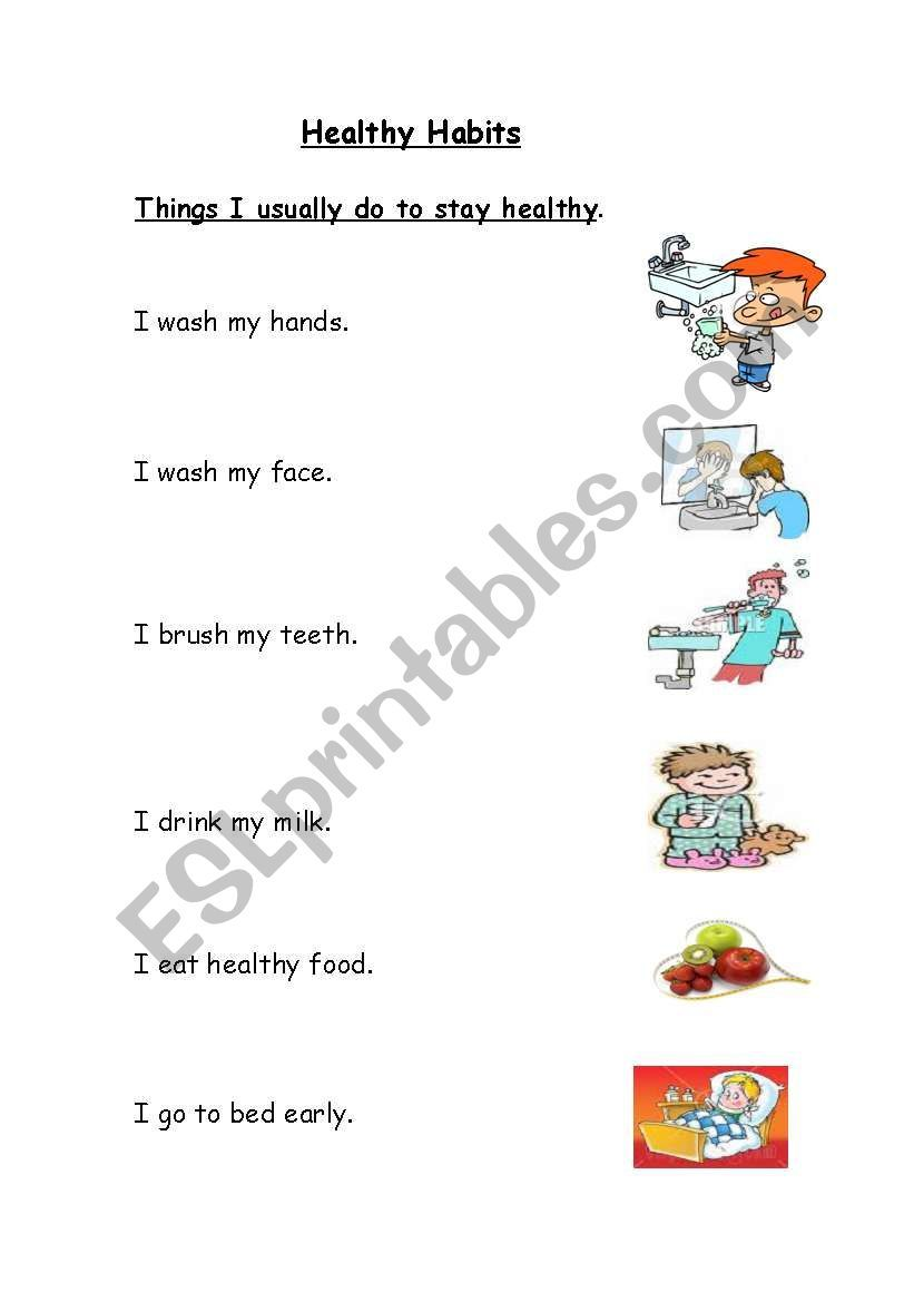 Healthy Habits worksheet   Healthy habits for kids [ 1169 x 821 Pixel ]