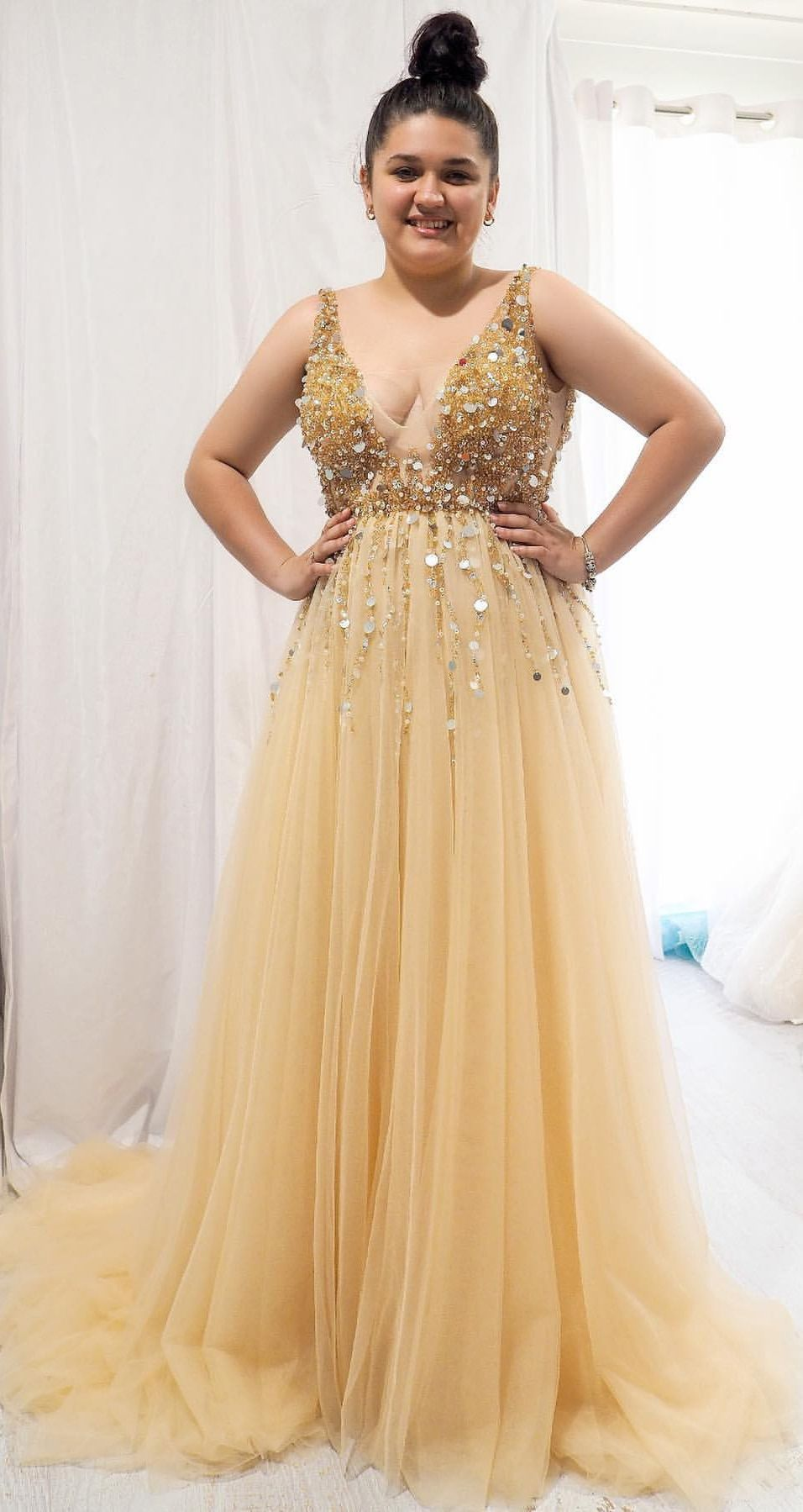A Line V Neck Sequins Beaded Gold Long Prom Dresses Plus Size Evening Gown Po188 Plus Size Evening Gown Prom Dresses Prom Dresses Long [ 1799 x 956 Pixel ]