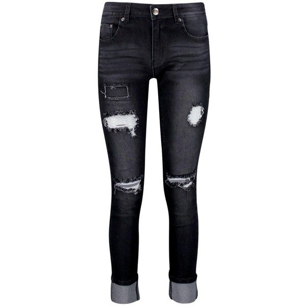 Boohoo Hannah Mid Rise Lightly Ripped Skinny Jeans (190 NOK) ❤ liked on Polyvore featuring jeans, pants, bottoms, slim straight jeans, distressed skinny jeans, super skinny jeans, high rise skinny jeans and high waisted boyfriend jeans