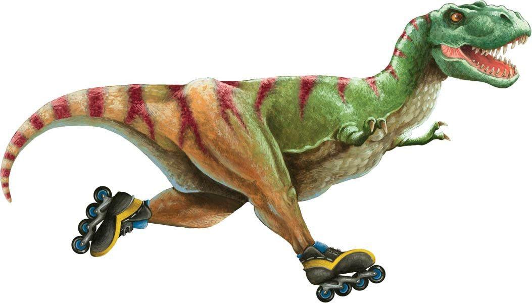 t rex dinosaur on roller skates peel stick wall mural t rex dino humor pinterest. Black Bedroom Furniture Sets. Home Design Ideas