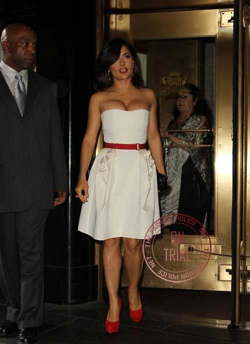 Celebrity Spy  Salma Hayek in white dress and red shoes at the ... 510a439e27