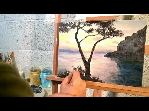 ENG | Acrylic Painting | Sunset at the Niceview of Tragara, part 1/3 - YouTube