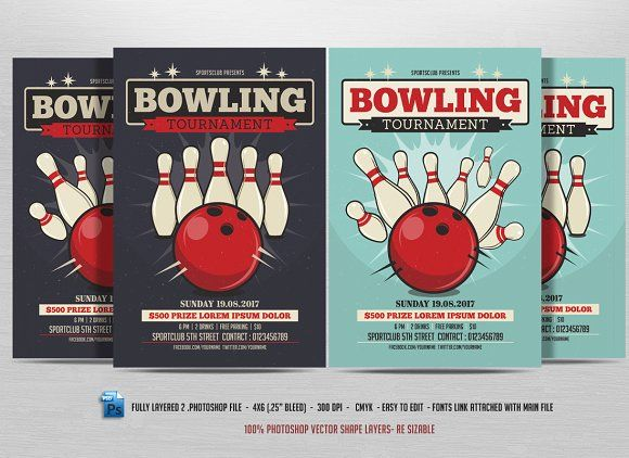 Bowling Event Party Flyer Template - bowling flyer template