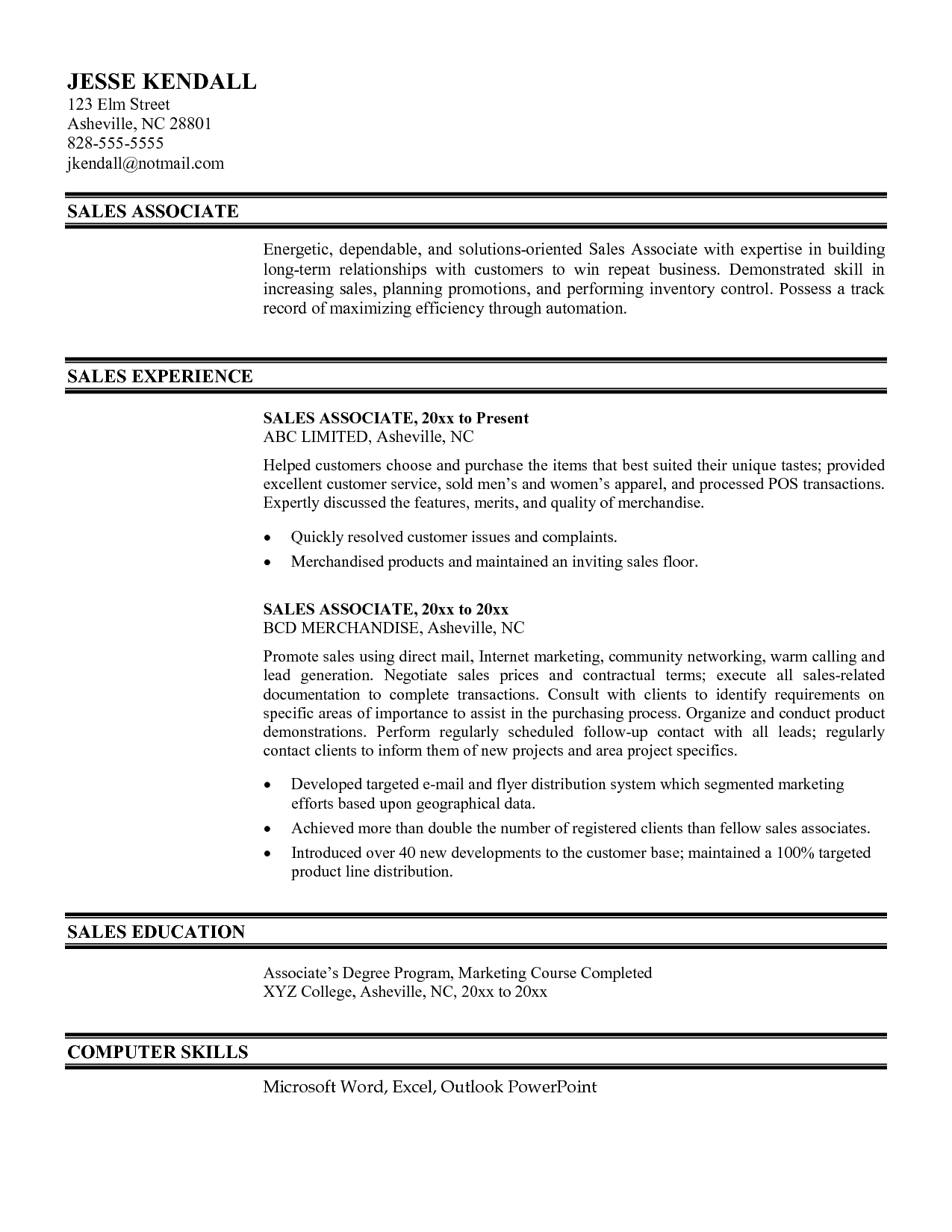 sample resume for sales associate