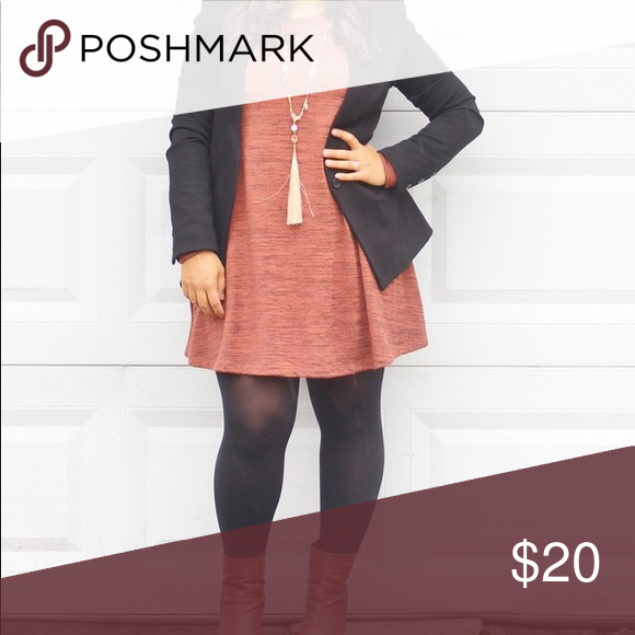 Burnt Orange Swing Dress Long Sleeve In Rustic Up With Blazer