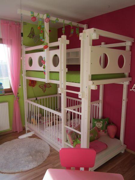 Etagenbett mit Babybett Kinder Pinterest Etagenbett - schlafzimmer einrichten mit babybett