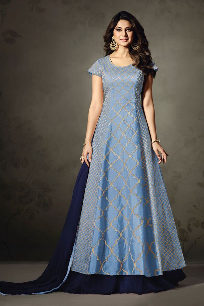 Indo western wedding dress for women  SkyBlueGorgeiousWeddingWearSilkIndoWesternStyleIndoWestern