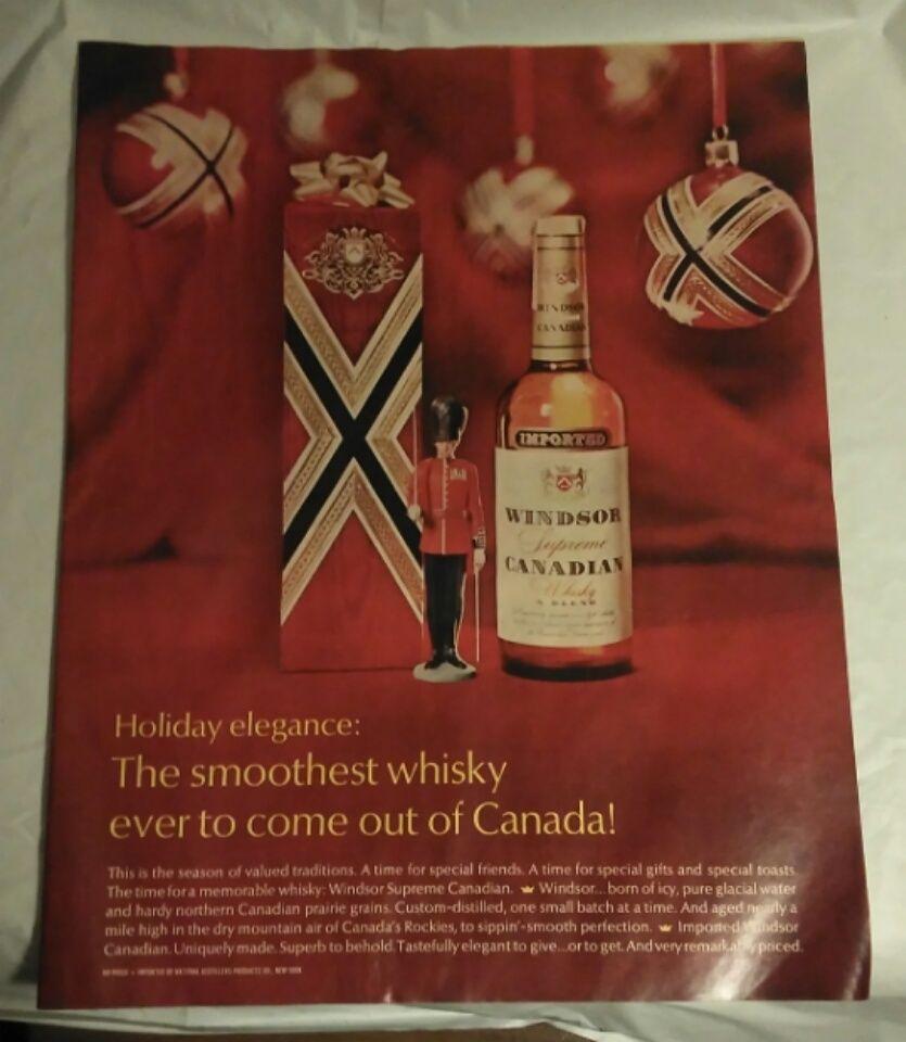 Vintage 1968 Christmas Windsor Canadian Whiskey Print Advertising Decor Windsor Print Advertising Vintage Advertisements Wine Bottle
