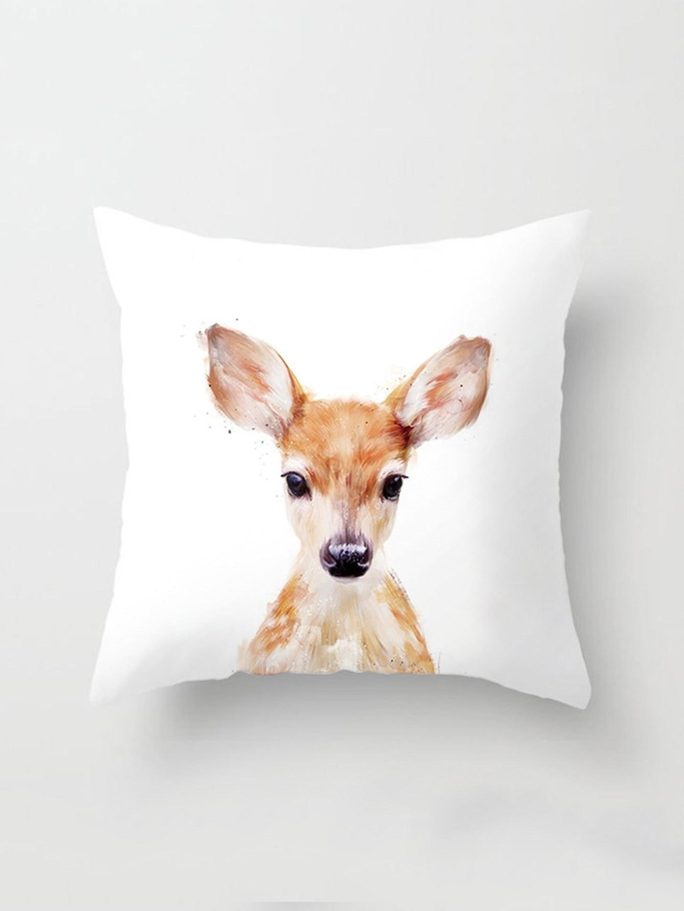 AdoreWe - SheIn Watercolor Deer Print Cushion Cover - AdoreWe.com ...