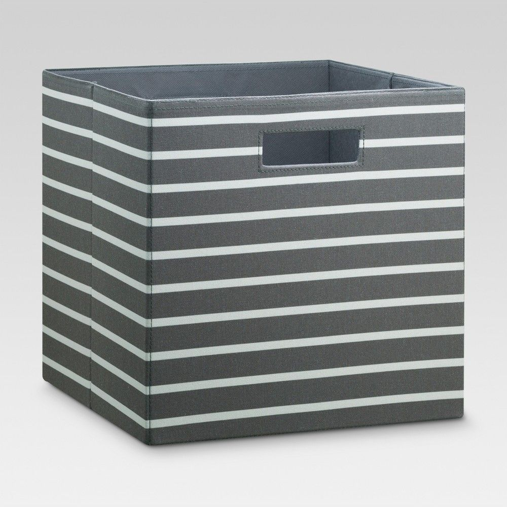 13 Fabric Cube Storage Bin Gray White Stripe Threshold In 2020 Cube Storage Fabric Storage Bins Cube Storage Bins