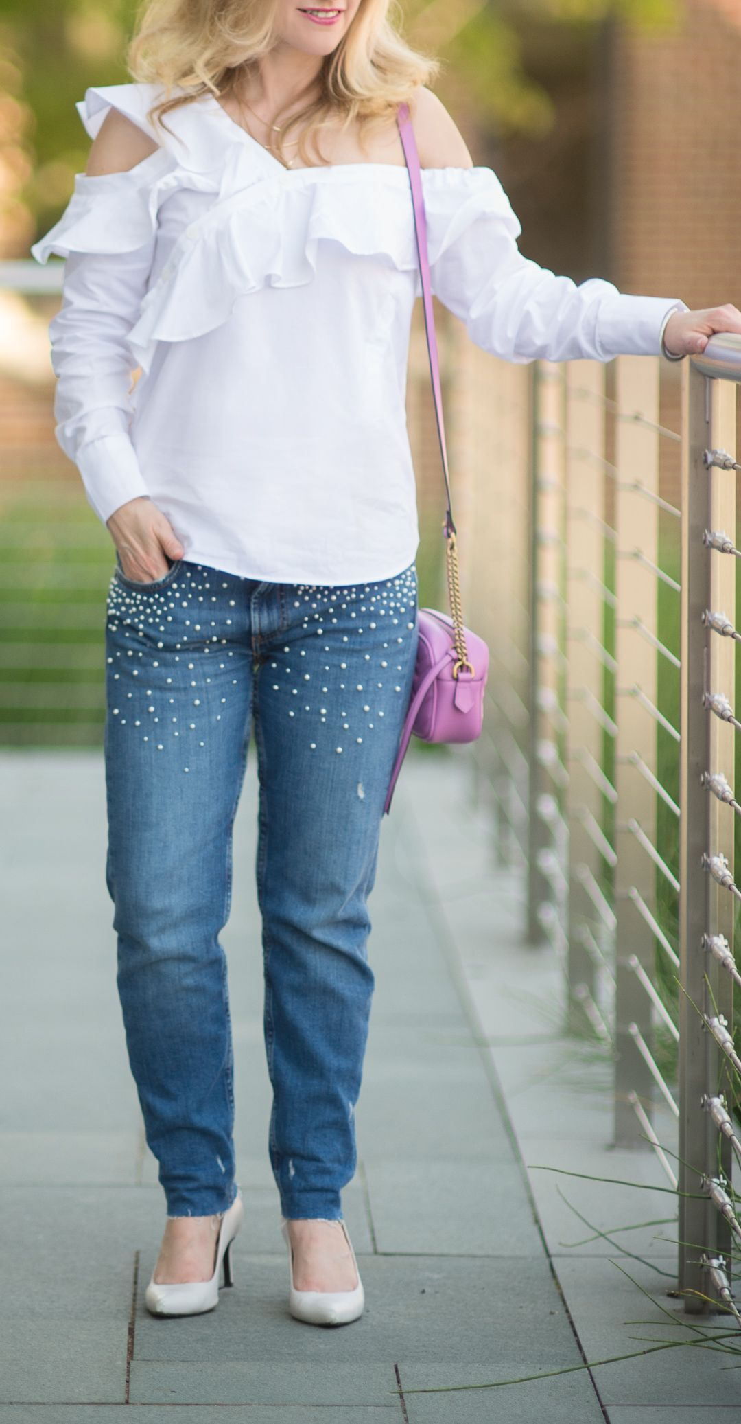 Style Trend  Pearl Embellished Jeans   Gucci marmont, Embellished ... 1e3a11cf7ff