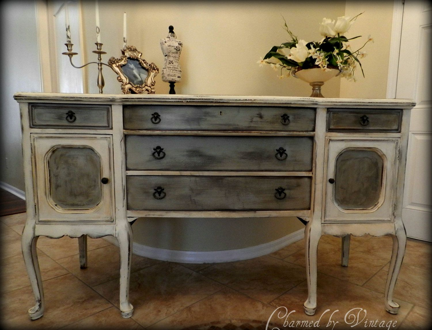 Antique buffet table furniture - Antique Hand Painted Buffet Sideboard