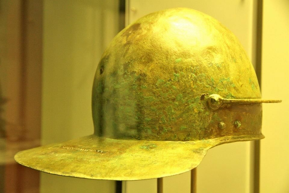 Burlafingen Coolus helmet. 1st century, CE. Found just outside of the military (possibly Roman auxiliary) fort of Burlafingen, Germany. Inscription on the neckguard is attributed to the original owner.