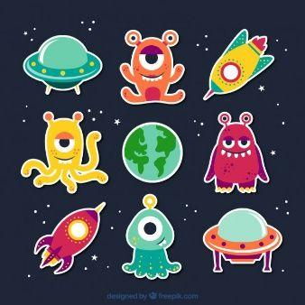 Vectores De Dibujos Animados 7 000 En Formato Ai Eps Y Svg Art For Kids Alien Party Vector Free