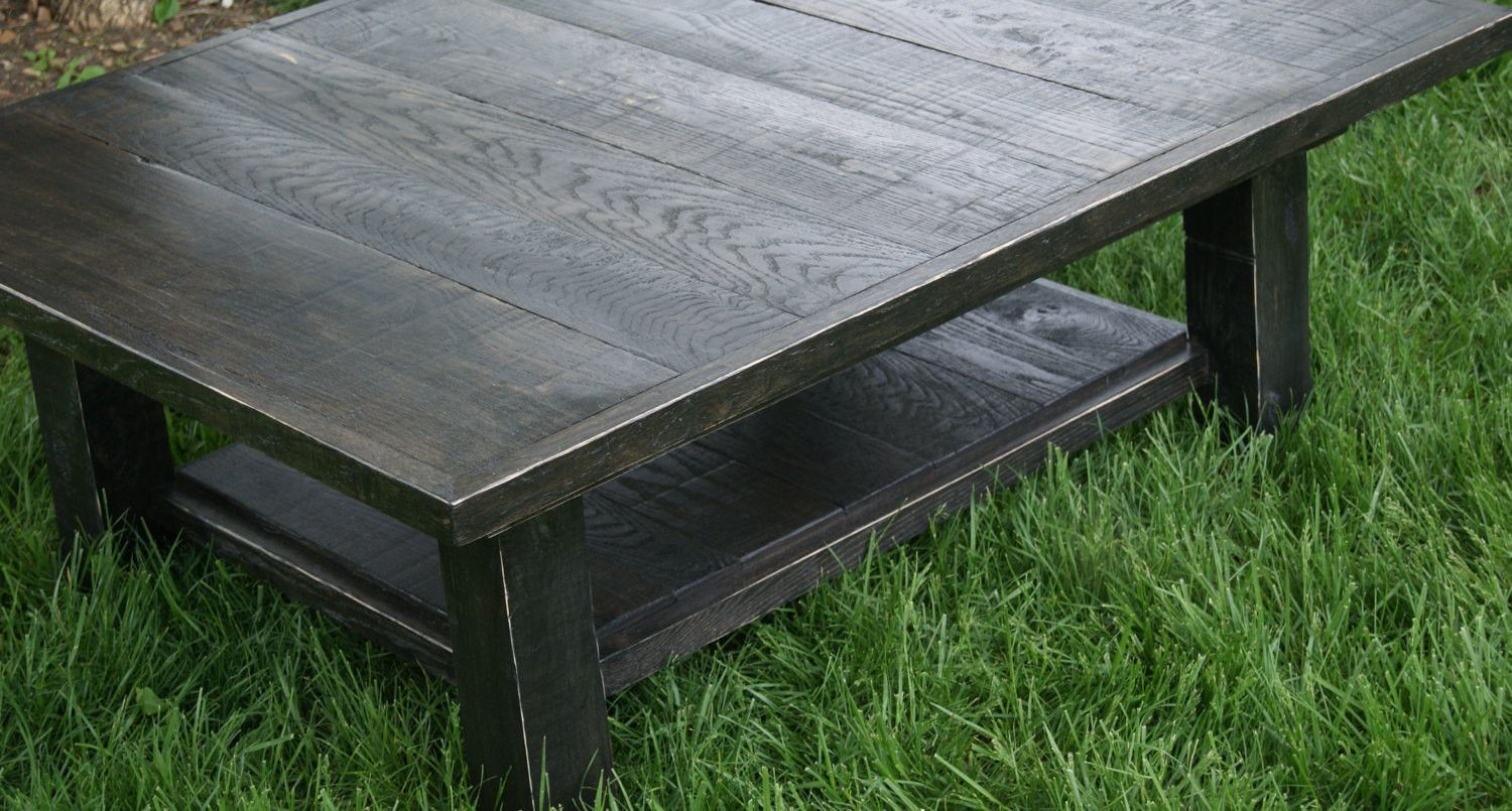 Black Distressed Staining Table Solid Wood With Ebony Stain