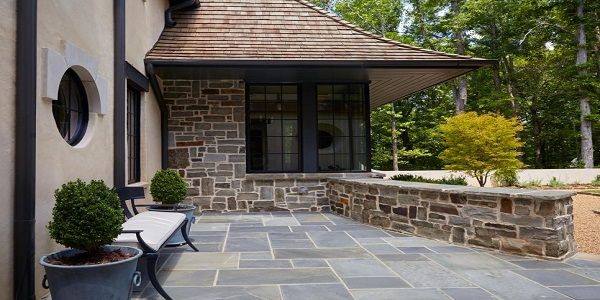 Exterior House Designs for Small Houses with Stone Patio Exterior