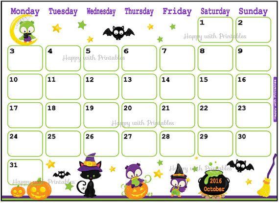 Halloween 2016 Calendar