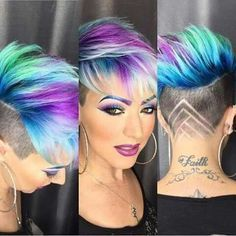 Blue N Purple Rainbow Hair Kurzhaarfrisuren Frisuren Kurz Und