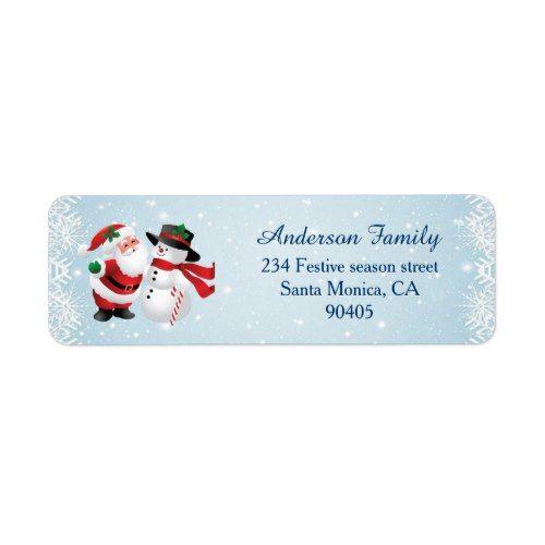 Santa And Snowman Christmas Return Address Label Zazzle Com Christmas Return Address Labels Return Address Labels Template Christmas Labels Template