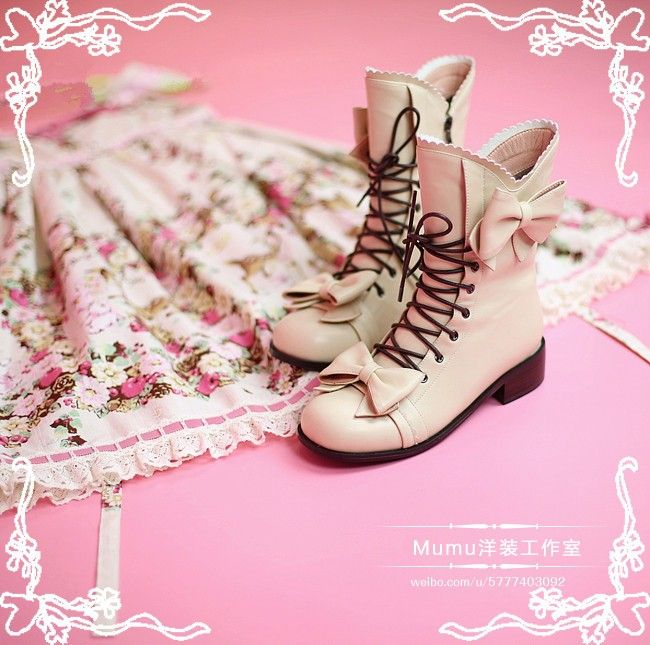 Grils' Sweet Lolita Mid-calf Boots -4 Coloras Available -Pre-order