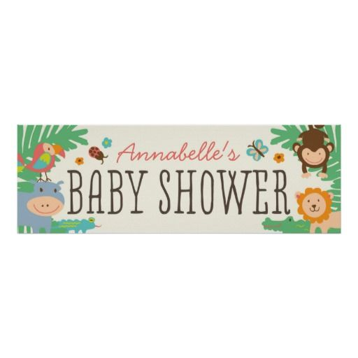 In the Jungle Baby Shower Banner 12x36 Print by origamiprints.