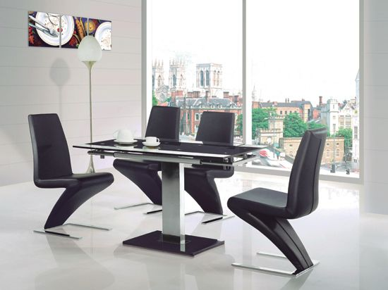 Enke Black Gl Extending Dining Table And 4 Z Chairs