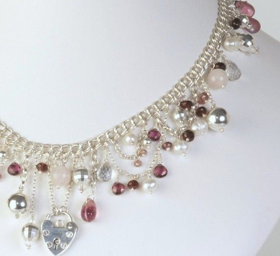 Luxurious z-curb chain necklace adorned with semi-precious ...