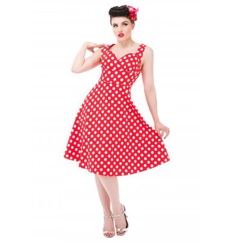 c1f8a6ee493 Lindy Bop 50 s Layla Polka Dot Rockabilly Dress Red   White ...