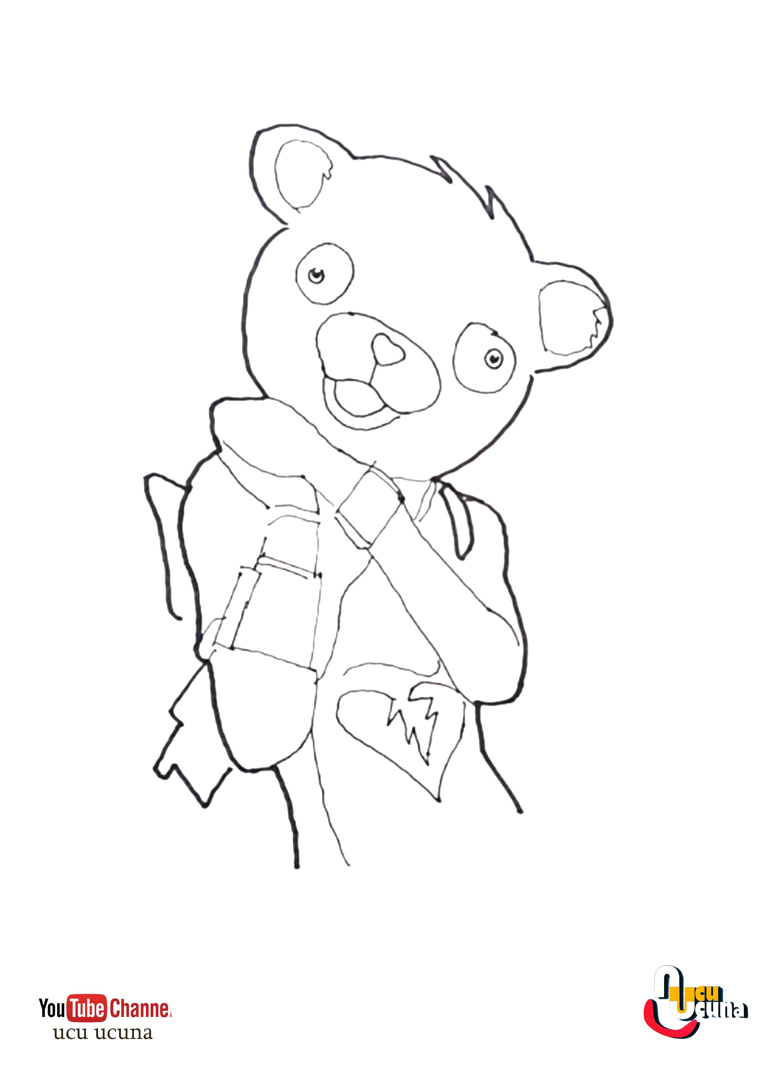 Fortnite Coloring Pages Pink Bear Concept