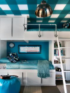 Turn a bedroom wall into a storage unit with bunk beds using ready-made cabinets.