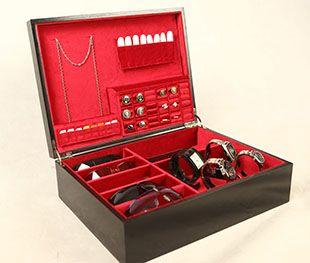 HBM Oxford wood mahogany mens jewelry box Mens Jewelry