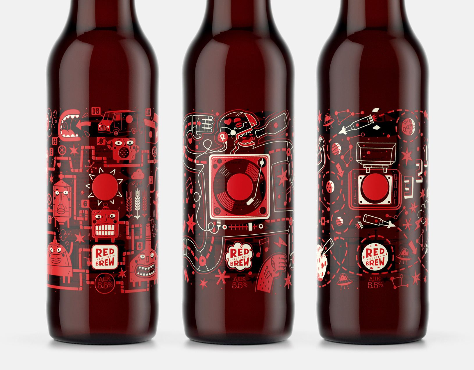 Illustrated Beer Bottle Labels Using Thermocromic Inks For Red Button Brew Beer Bottle Labels Beer Illustration Red Beer