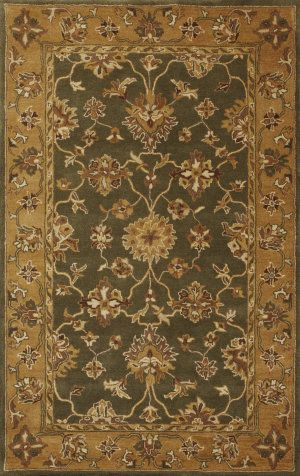 Kas Jaipur 3858 Green Gold Area Rug Clearance Rugs Wool Area Rugs Area Rugs