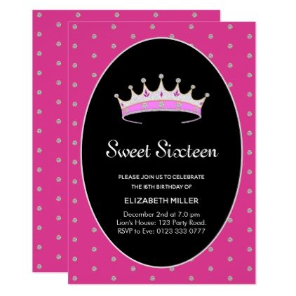 Sweet 16 Diamond Princess Birthday Party Invitation | Zazzle.com #sweet16birthdayparty