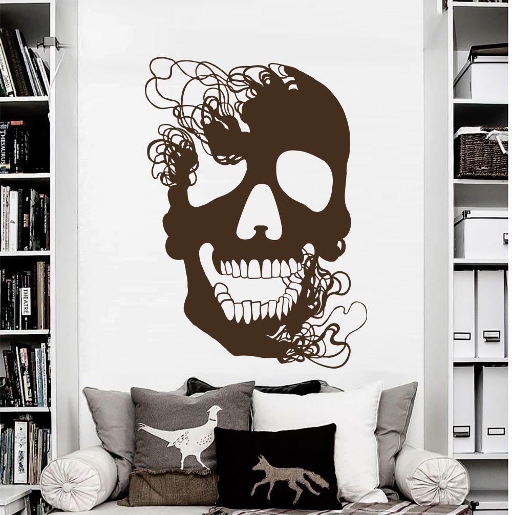 Wall Decals Skull Skeleton Decal Bedroom Vinyl Sticker Home Decor Mural Da2288