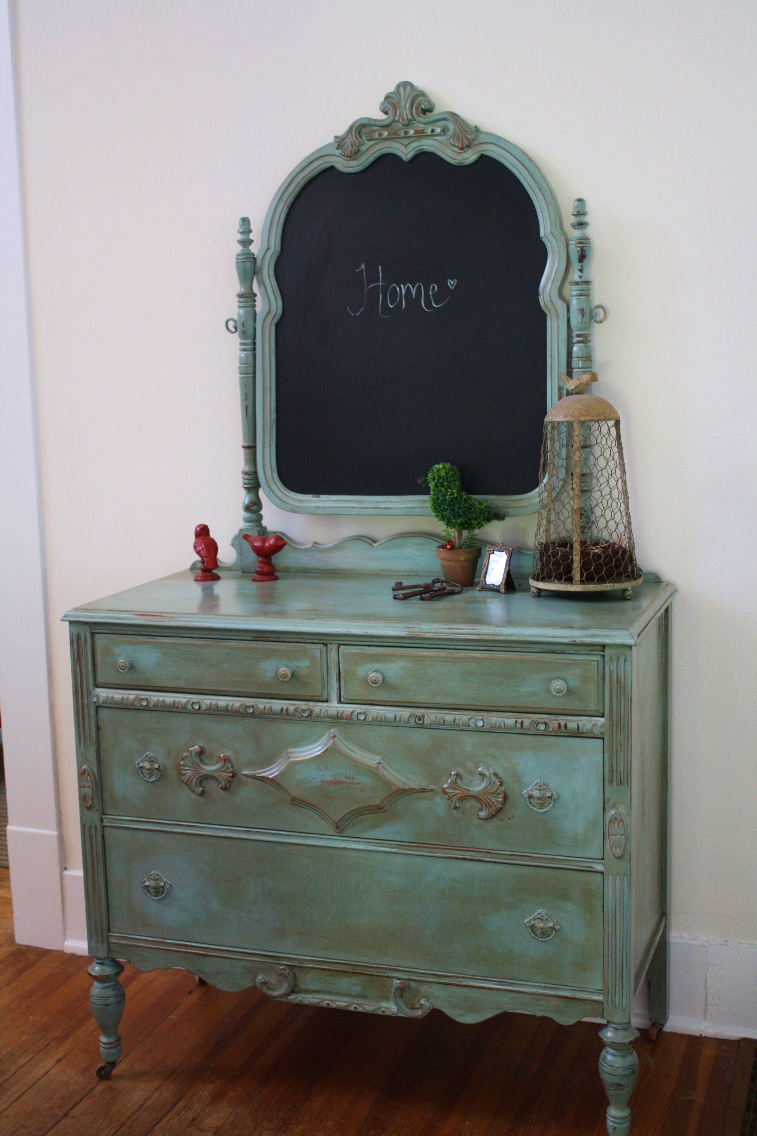 Antique Dresser Mirror Flipped And Painted With Chalkboard Paint