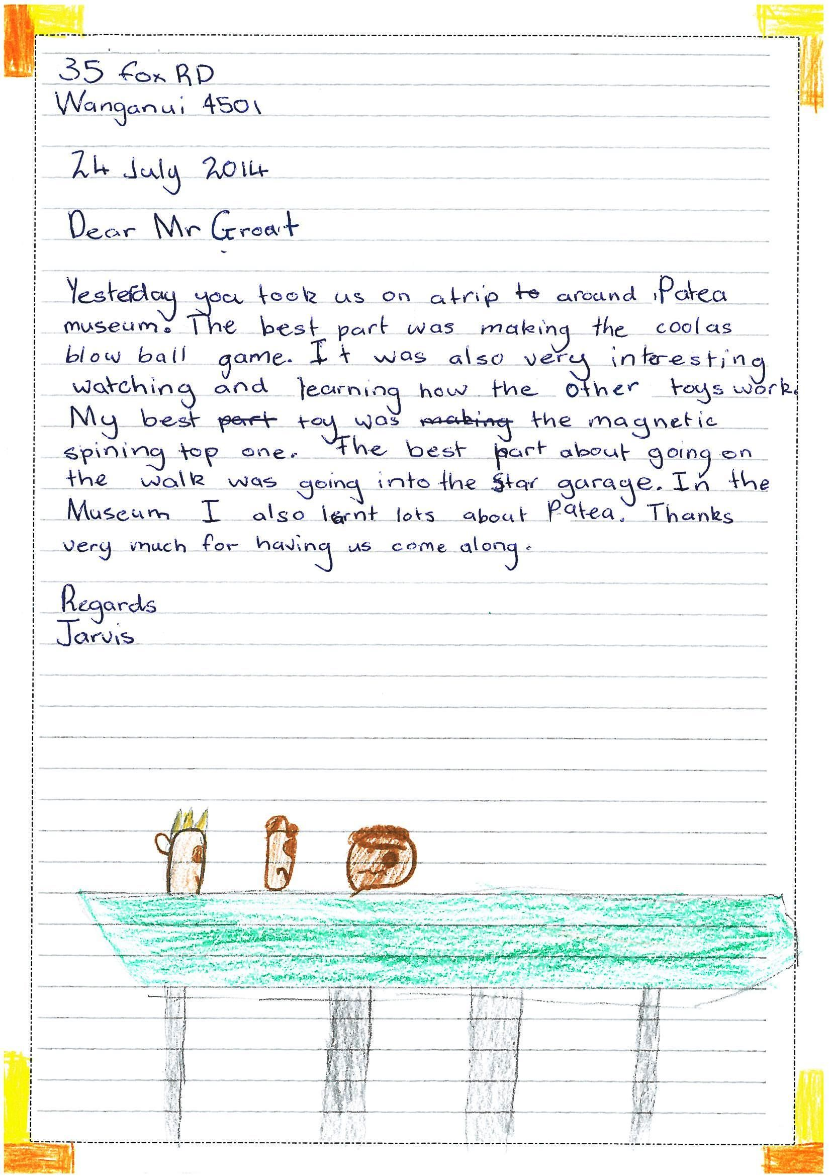 One Of The Lovely Thank You Letters We Received After A School