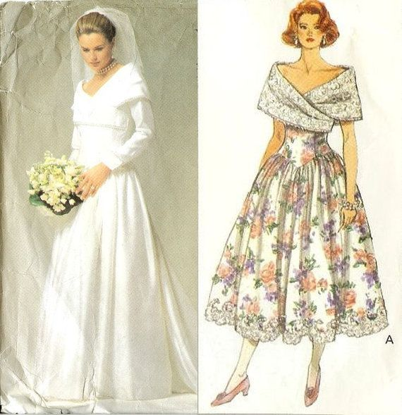 Vintage Portrait Collar Wedding Dress And By Willynillyart