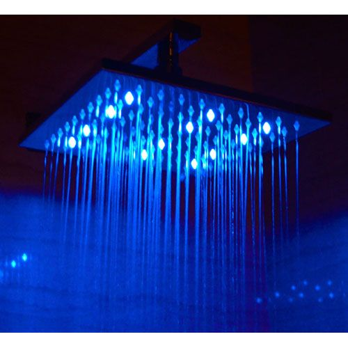 10 Inch Square Multi Color LED Rain Forest Shower Head