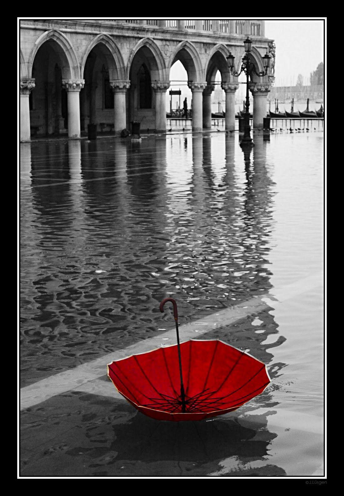 Red umbrella in venice