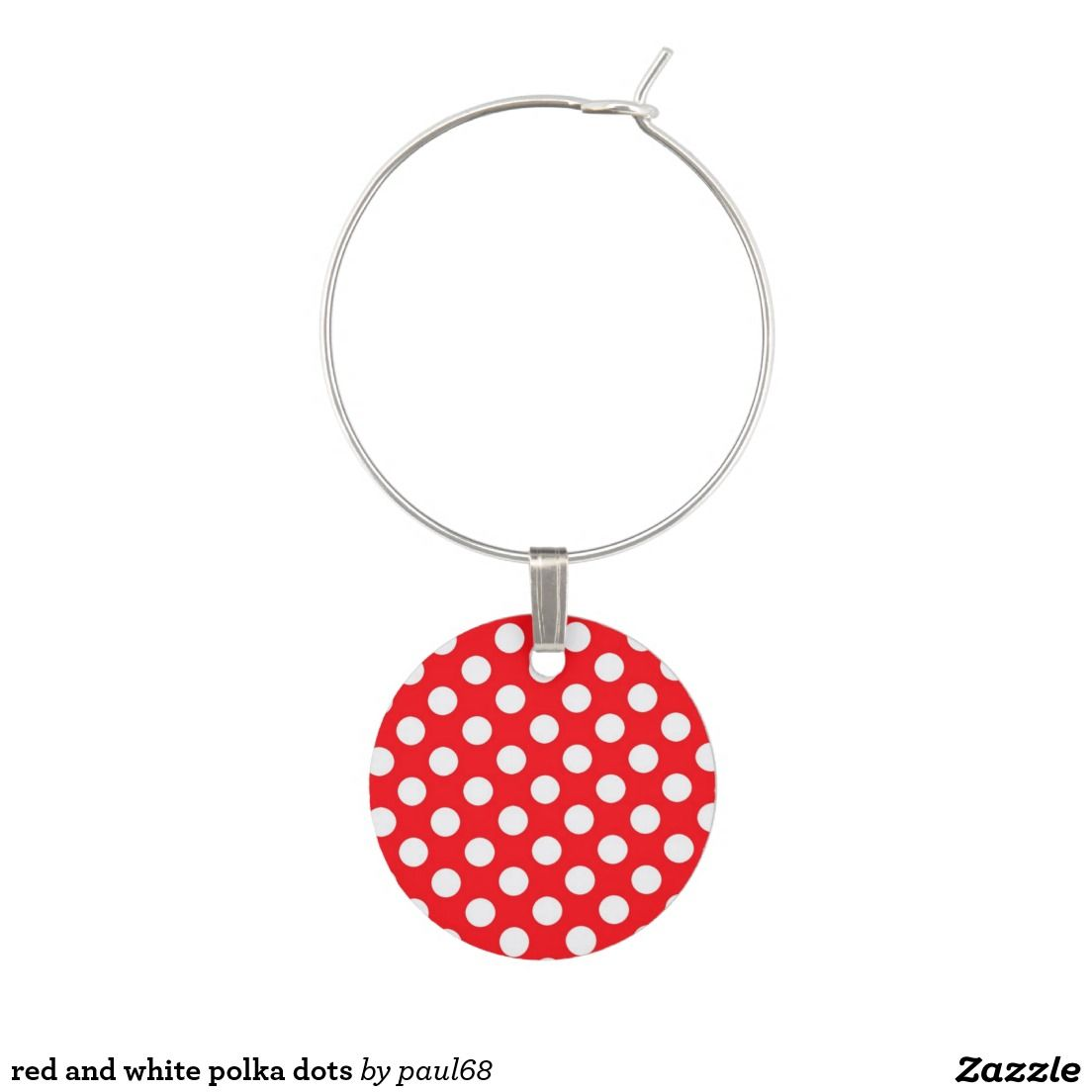 red and white polka dots wine charms