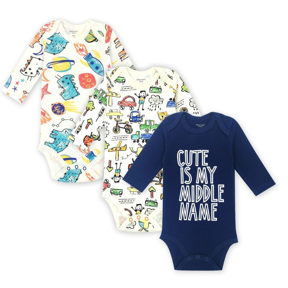 FREE SHIPPING 4 PCS Newborn Baby Clothes Long Sleeve Baby Bodysuit