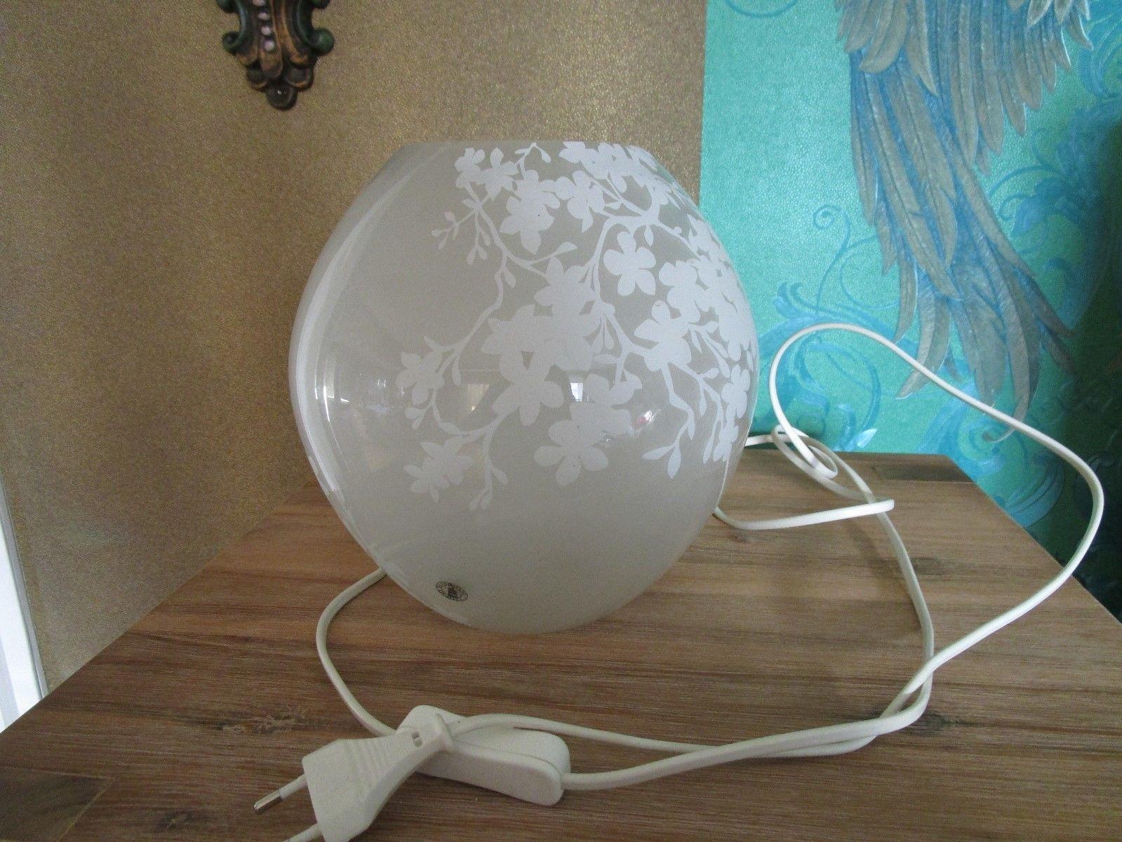 Tischlampe Ikea Weiß Blumen Blüten Glas Lampe Leuchte Eek A