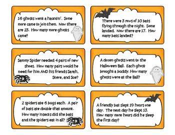 halloween math problem solving task cards holiday math halloween pumpkins math problem. Black Bedroom Furniture Sets. Home Design Ideas