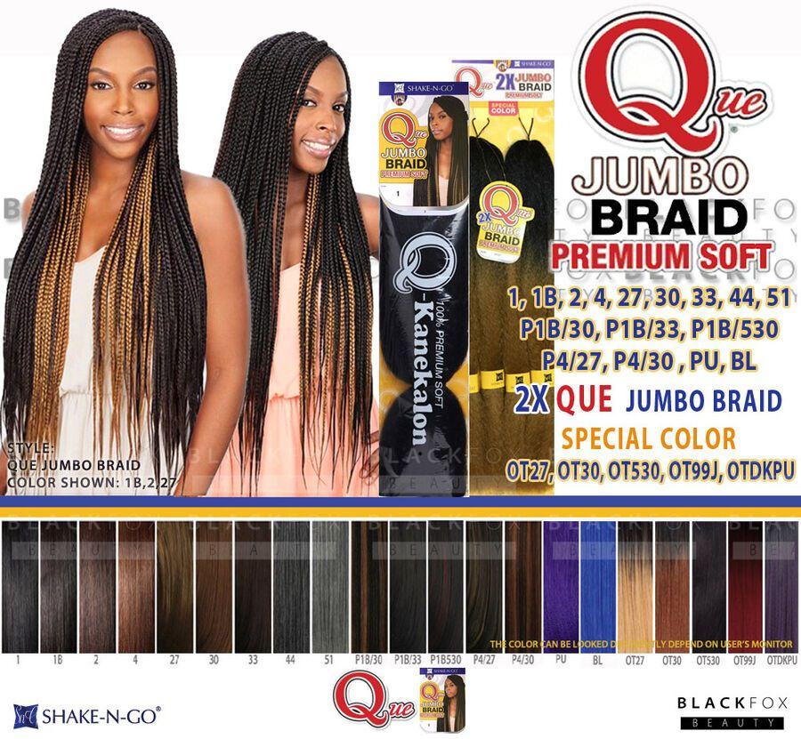 Que Jumbo Braid Premium Soft 100 Kanekalon Synthetic Braid Hair