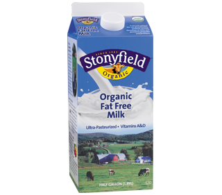 Our pure, fat-free organic milk comes from organic family farms, so it's free of pesticides, antibiotics, hormones and other things you don't want.  Get health information. #Stonyfield