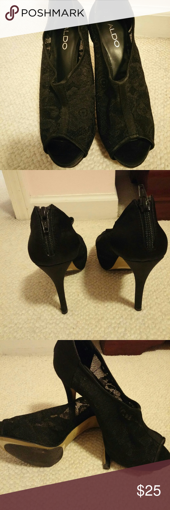 Aldo Pumps Aldo Satin and Lace Peep toe Pumps. Worn once for a wedding. Size 38. Sorry no box and no trades Aldo Shoes Heels