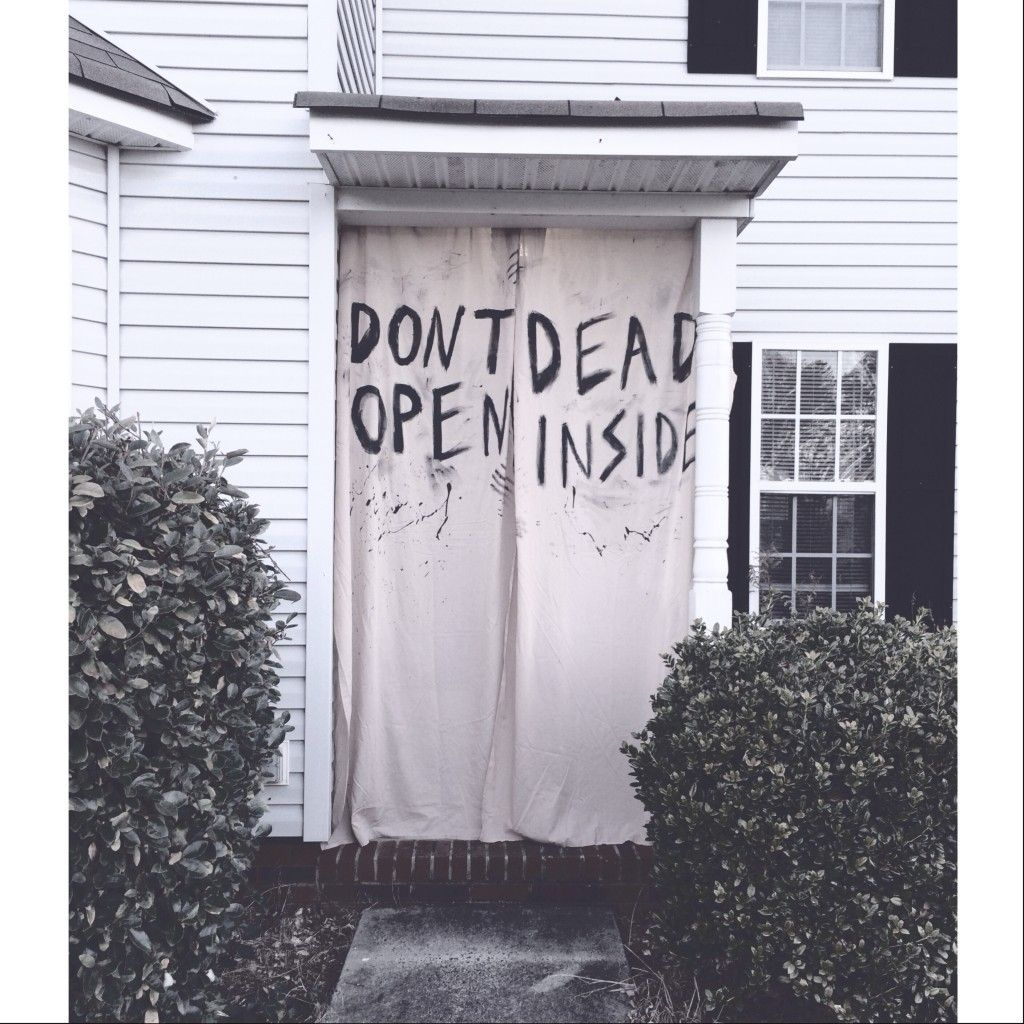 the walking dead party decorations - don\u0027t open dead inside - Halloween Door Decorations Ideas